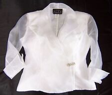 White Alex Evenings Formal Cocktail Party Shirt Blouse Top PP Petite Plus Used