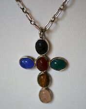 Cute Vintage Sterling Silver Cross Pendant With 6 Scarab Semiprecious Stones