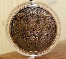 2013 Burkina Faso 1oz Silver Mother Smilodon Saber Tooth Tiger Coin Antiqued 500
