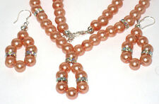 Popular Champagne Colored Pearl and Round Hrinestones Necklace with Earrings Set