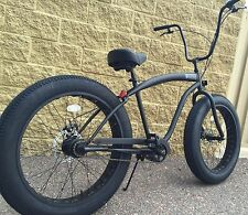 NEW Sikk 3 SPEED�� Fat Tire Beach Cruiser Bike �� ALL Flat Black -CUTOUT RIMS