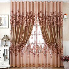 Upscale Floral Tulle Room Door Blackout Window Curtain Drape Panel Sheer Scarf Y
