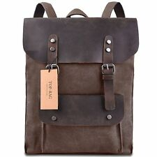 Vintage Canvas Leather Day School Shoulder Bag Backpack Coffee Retro Durable New