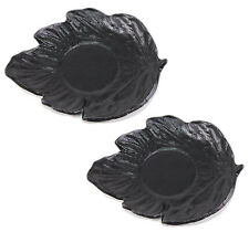 Set of 2 Black Leaf Japanese Cast Iron Tea Cup Coasters