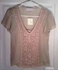 NWT Anthropologie BEYOND VINTAGE Silk & Lace Front Top Blouse X Small $229.00