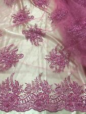 "PINK MESH W/EMBROIDERY PEARL BEADS & SEQUINS BRIDAL LACE FABRIC 52"" WIDE 1 YARD"