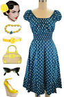 50s Style DARK TEAL &White POLKA Dots PINUP Peasant Top On/OffThe Shoulder Dress
