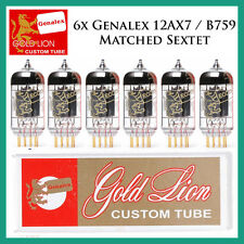 New 6x Genalex Gold Lion 12AX7 / ECC83 | Matched Sextet / Six Tubes