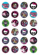 24 Monster High  Cupcake Fairy Cake Topper Edible Paper cake decoration toppers