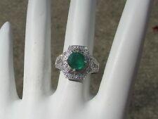 18K White Gold Ring with Colombian Emerald and Diamonds, Unique Design  Q69