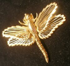 VINTAGE MONET DRAGONFLY PIN - GOLD TONED