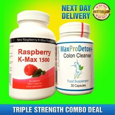90 RASPBERRY KETONES AND 30 COLON CLEANSE MAX DETOX WEIGHT LOSS DIETING CAPSULES