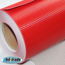 Carbonfolie ROT 30 x 150 cm Carbon Look Wrapping Folie 3D Struktur blasenfrei