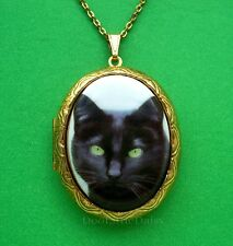 CATS Porcelain BLACK CAT CAMEO Costume Jewelry Locket Pendant Necklace (Kitten)