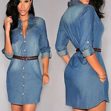 Womens Slim Tunic Mini Dress Denim Jean Party Casual Long Sleeve Shirt Dress New
