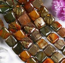"""Nature 12MM SQUARE PICASSO JASPER GEMSTONE LOOSE BEADS STRAND 15 """"AAA"""