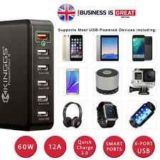 KINGGS 60W/12A 6 Port Fast Smart Desktop USB Charger for Phones, GoPro Camera