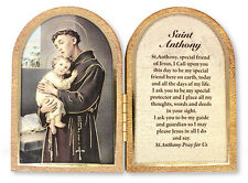 SAINT ANTHONY FOLDING WOODEN PLAQUE - PICTURES CANDLES CROSSES STATUES LISTED