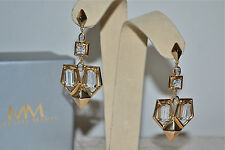 NWT $178 MELINDA MARIA 14k Gold Plated *Lena* Crystal Drop Earrings Art Deco