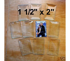 (10 pack) 1-1/2 x 2 inch Clear Glass Rectangle Bevels 1.5 x 2 Flat On Back Bevel