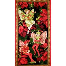 Christmas Holiday Flower Fairies Printed Cotton Fabric Quilting Panel DC5537