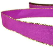 "2 Yds Gold Edge Fushia Pink Satin Wired Ribbon 7/8""W"