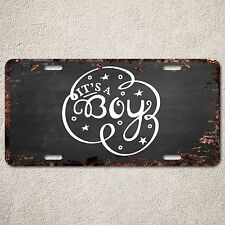 LP297 It's a Boy Sign Rust Vintage Auto Car License Plate Baby Shower Decor