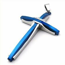 MENDINO Men's Stainless Steel Pendant Chain Necklace Silver Blue Overlap Cross