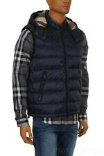 NEW BURBERRY MEN'S NAVY LIGHTWEIGHT DOWN-FILLED HOODED LOGO GILET VEST JACKET XS