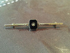 Antique Victorian 10k Gold Black Onyx & Pearl Mourning Brooch - 2.33 grams -