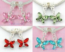 20pcs Mix Silver Plated Butterfly Charms Dangle Inlay Crystal Fit Bracelet E17