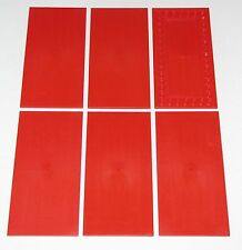 LEGO LOT OF 6 RED 8 X 16 TILES FLAT SMOOTH PIECES PARTS