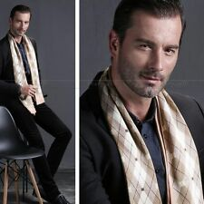 Mens 100% Silk Long Scarf/Cravat Scarives Double Layer__For Spring Autumn Winter