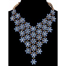 Sparkly Pastel Baby Blue Flower Daisy Drop Gold Statement Necklace