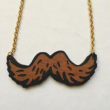 Laser cut Wooden Gold and Black Mustache Necklace for Movember