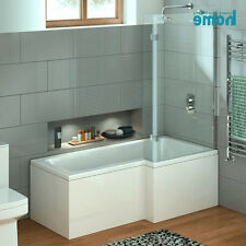 Modern 1700mm Square Right Hand L Shaped Bath+Shower Screen+Panel+Waste NO.SB01R