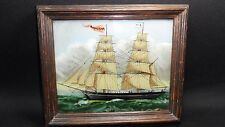 Vintage Sailboat Rosaliena Painting In beautiful Oak Frame Painted on glass