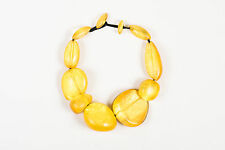 VINTAGE Monies Gerda Lynggaard Yellow Resin Oversized Statement Necklace