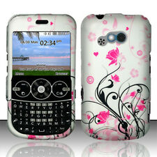 For Net10 LG 900g Rubberized Protector HARD Case Snap on Phone Cover Pink Vines