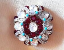 Rare Vintage Garnet Red, Clear and Faux Turquoise Rhinestone Brooch Pin - SPHINX