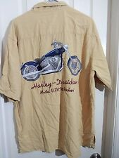HARLEY DAVIDSON Yellow Embroidered Model FXCW Rocker Motorcycle S/S Shirt