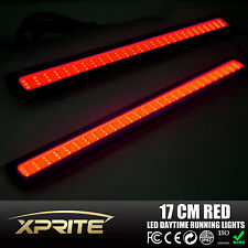 2x Dual Function Pure Red Super Bright Car COB LED DRL Fog Driving Lights