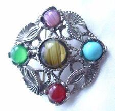 Vintage Signed HOLLYWOOD Celtic Style Glass Gem Cabochon PIN/Brooch,FJT
