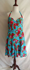 Betsey Johnson Size 14 Teal Victorian Rose Rockabilly Fit & Flare Pin Up Dress