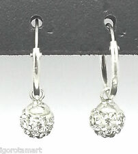 Ladies' Sterling Silver Hinged Round Hook Stud Swarski Gem Dangle Earrings