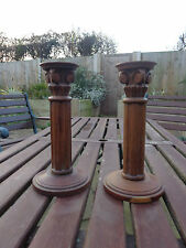 Pair of Matching Wooden Roman Column Candlesticks Made By Past Times