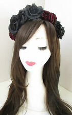 Black & Burgundy Red Rose Flower Hair Crown Headband Festival Goth Lolita X-49