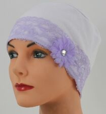 Our Lavender Lace LOUNGING CAP Chemo Cap Turban Hat  HEAD COVER  Cancer Patient