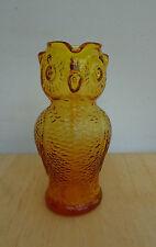 """Vintage 1970's AMBER GLASS OWL PITCHER Kanawha 5"""" NICE!"""