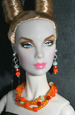 "OOAK BY GRAZIA/SCHMUCKSET/FÜR 16"" DOLLS/TULABELLE,FASHION ROYALTY/ORANGE"